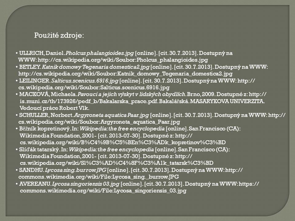 Použité zdroje: ULLRICH, Daniel. Pholcus phalangioides.jpg [online]. [cit. 30.7.2013]. Dostupný na.